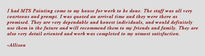Apache Junction painting company testimonial- Allison