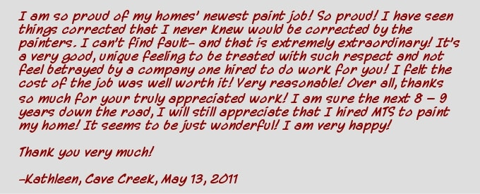 Cave Creek house painters testimonial- Kathleen